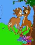 Bambi kissing Ronno by DrawDesign