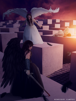 The duel of angels by Henriqu3Campos