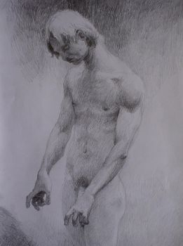 male figure, pencil, 29,7x27cm, 2006 by LowSyet