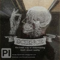 Science x-ray skull etched granite tile by PeterIst