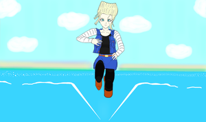 Android 18: Headed Out to Sea by SacredWaterOfDreams