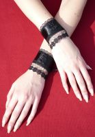 Black Cuffs with Roses by Estylissimo