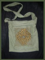 Green Linen Bag, Celtic Motive by Guenieviere