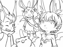 Moogle Squad Lineart by Lezithian