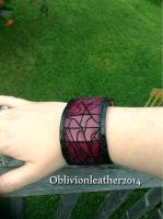 Custom made purple Desiccation cuff. by Oblivionleather76