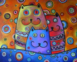 Coloured cat theme oil paint by Boias