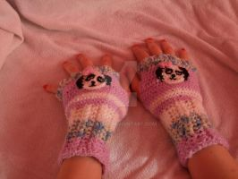 Fingerless Gloves - Panda Sold! by Bela1334