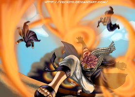Fairy Tail - Natsu in flames by Veckito