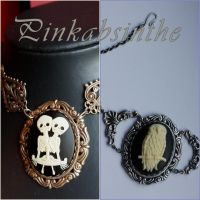 Owl and twins necklaces by Pinkabsinthe
