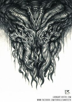 Cthulhu Pencil Drawing by TentaclesandTeeth