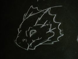 dragons head chalk drawing by Changeling007