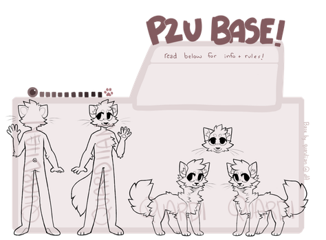 p2u anthro and feral cat base !! by quardie