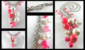 Pink Candy Jade and White Pearl Cluster Necklace by DryGulchJewelry