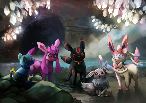 Eevee family by Tymkiev