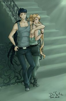 Seiya and Usagi in the stairwell by Seeraholic
