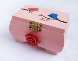 Cute Love Birds OOAK handpainted wood trinket box by DeadLulu