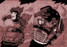 Gambit and Hulk Hot Rod Style with old timey feel by soliton