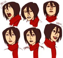 Mikasa Makin Faces by Jazzie560