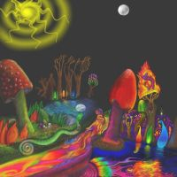 Enchanted Blacklight ForestSun by mushroomGOD121