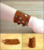 Steampunk Leather Cuff II by izasartshop