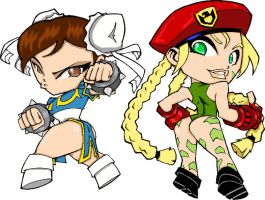 Chun li and Cammy by KN co GGO by grumpygrimone