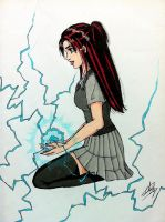 Mutant Girl : She Controls Electricity (creation) by Pink--Mist