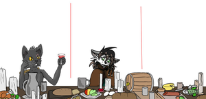Collab - How am I supposed to eat here? by Ninchiru