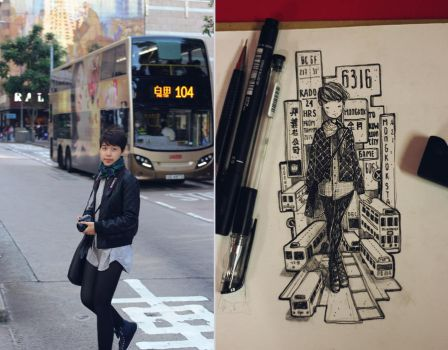 Draw myself in Hongkong by tamypu