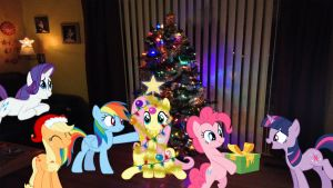 Mane 6 Around The Christmas Tree by Mr-Kennedy92