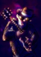 the left handed blues player by richard-chin