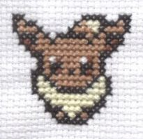 Mystery Dungeon Eevee cross stitch by Lil-Samuu