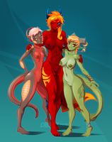 Dragon Ladies Pinup by Croxot