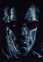 T-850 -Terminator Sketch Card by J-Redd