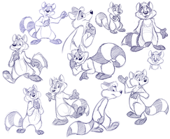 Raccoon doodle dump by crazyyellowfox