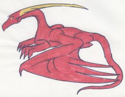 Red Dragon in Marker by Poorartman