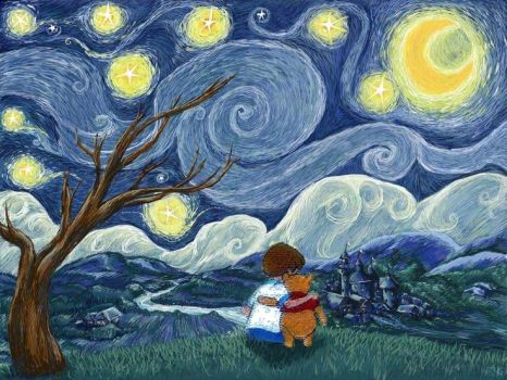 Winnie the Pooh Starry Starry Night - (Commission) by Elephant883