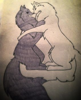 Me and Sesshomaru as wolves by ana1238