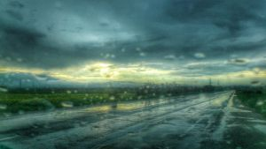 road and rain by burnchild