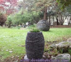 Dry Stone Sphere and Stacked Stone Vase by Devine-Escapes