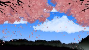 Under the Cherry trees by EchoingDroplet