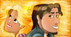 Rapunzel and Flynn rider by Kevsoraone