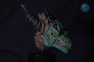 Rocky dragon bust  side view by AntonioBalicevic