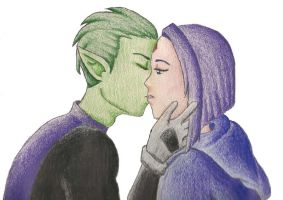 Beast Boy and Raven Kiss by AnimatedBritney