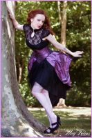 Ribbon purple taffeta underbust corset by Esaikha