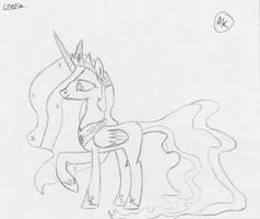 Sketch of Princess Celestia by AlotOfBronies