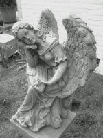 BlackandWhite of Angel Statue by FroggieFaith