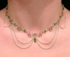 Green and silver choker by Crimson-rose-x