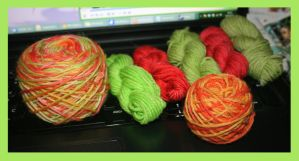 Lot of Kool-Aid dyed yarn by KnitLizzy