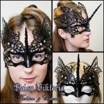 Black Venetian Filigree Unicorn Mask by DaisyViktoria
