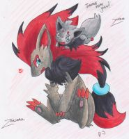 Zorua and Zoroark by FENNEKlNS